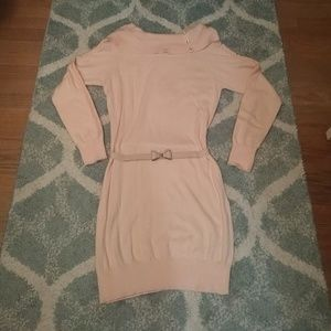 Candie's belted knit dress in cloud pink